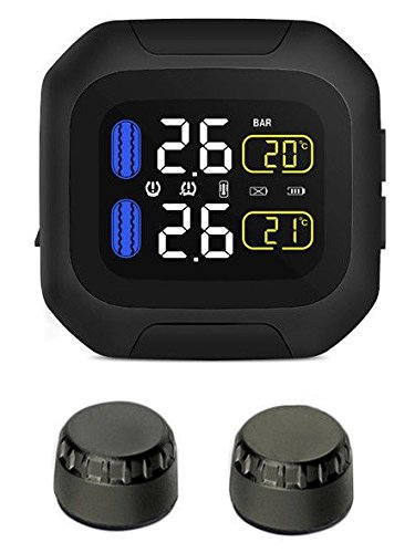 SYKIK Rider SRTP300 Wireless tire Pressure Monitoring System for Motorcycles with 1.5' Monitor. Check Your tire Pressure While Riding