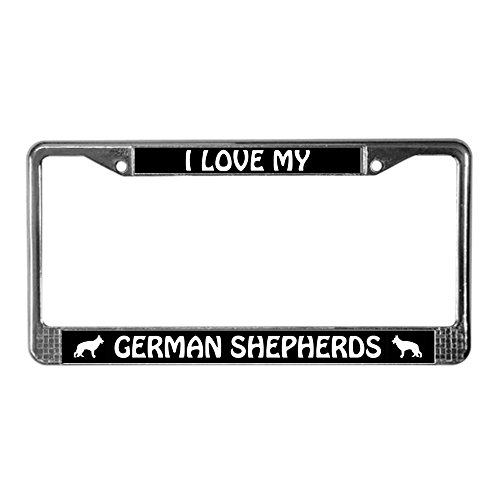 (CafePress I Love My German Shepherds (Plural) License Frame Chrome License Plate Frame, License Tag Holder )