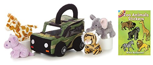 Aurora Baby Talk Plush Set with Sticker Book (My Photo Safari) (Photo Puppet Replica)