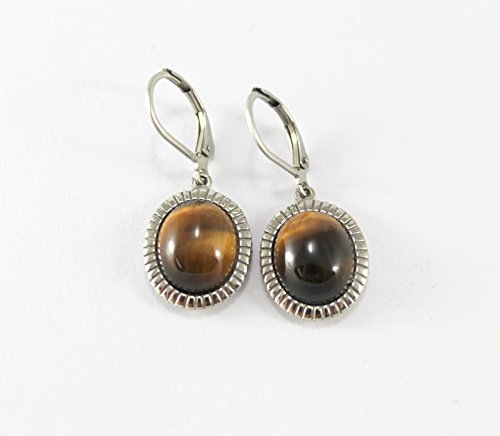 Shape Dangling Oval Ring (Tiger's Eye Gemstone Dangling Oval Shape Earrings Stripe Pattern Frame Design)