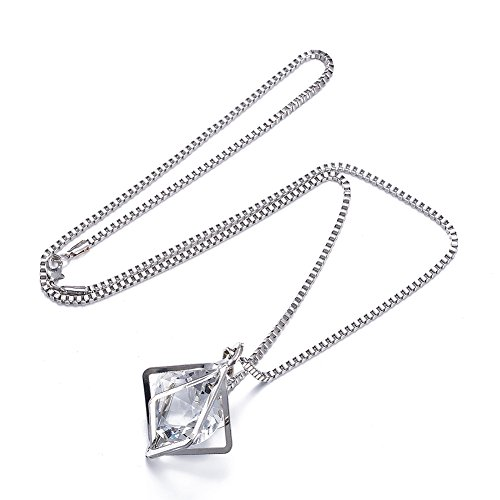 Silver White Gold Square Frame Clear Glass Crystal Necklace Pendant Simulated Diamond Solitaire Wedding Engagement, Alvaaoby Jewelry Romantic Charm, Friendship Box Chain, Gift for Ladies, Women, Girls ()