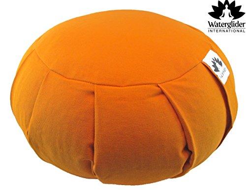Zafu Yoga Meditation Pillow with USA Buckwheat Fill, Certified Organic Cotton- 6 Colors (Orange Saffron)
