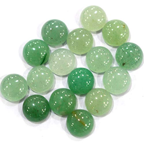 Icokarl 10pcs Green Aventurine Coin 12mm Natural Gemstone Cabochons CAB Loose Beads DIY for Pendant Ring Jewelry Making