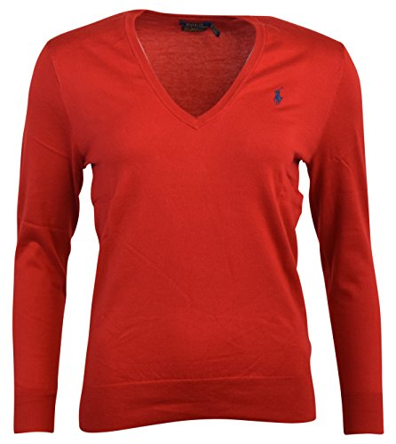 Polo Ralph Lauren Womens Pima Cotton V-Neck Sweater (M, (Logo V-neck Sweater)