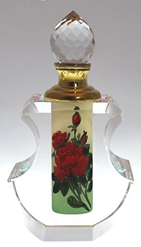 Secret Valentine Perfume Bottle Decanter - Hand-Painted Red Rose Crystal, PBA04-475