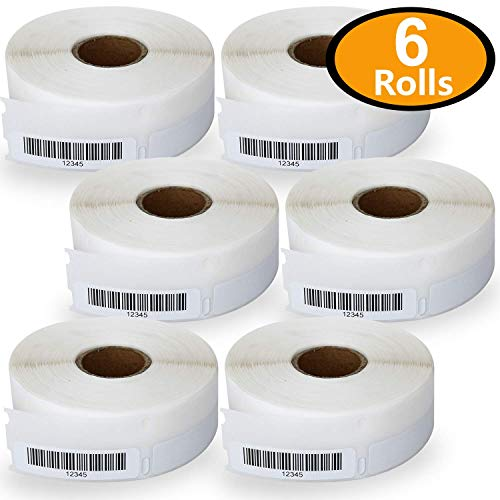 6 Rolls Dymo 30346 Compatible 1/2 x 1-7/8(13mm x 47mm) Multipurpose Library Barcode Labels,BPA Free