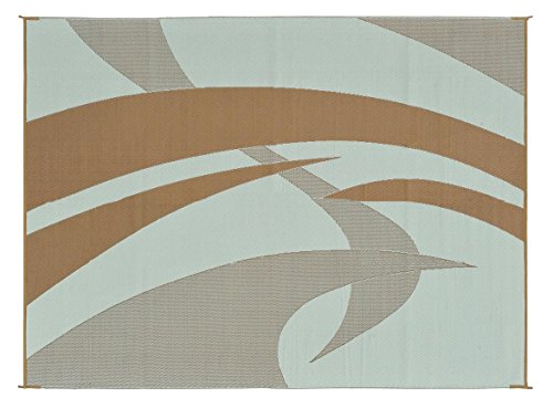 Reversible Mats 159127 Brown/Beige 9'x12' Swirl Patter Mat