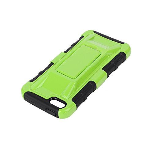 MOONCASE iPhone 5 Case Dual Layer Hart Weich Hybrid Schutzhülle Etui Hülle Schale Case Cover für iPhone 5 5S ausklappbarer Ständer Funktion Grün