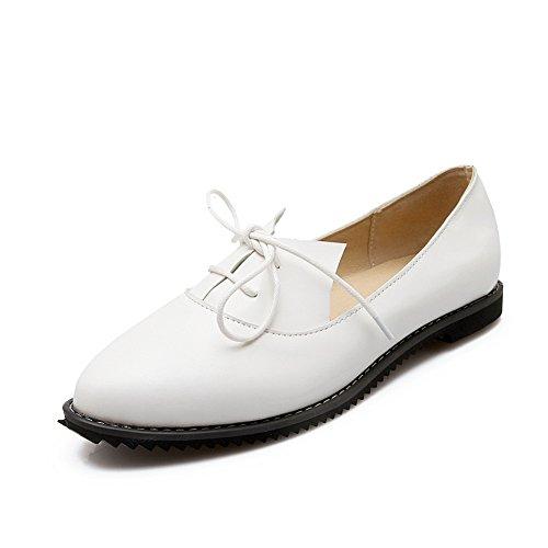 Balamasa Kvinna Bandage Fyrkantiga Klackar Fasta Uretan Flats-shoes Vita