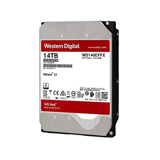 "WD Red 14TB NAS Internal Hard Drive - 5400 RPM Class, SATA 6 Gb/s, CMR, 512 MB Cache, 3.5"" - WD140EFFX 41Fo9H4Aa5L. SS555"