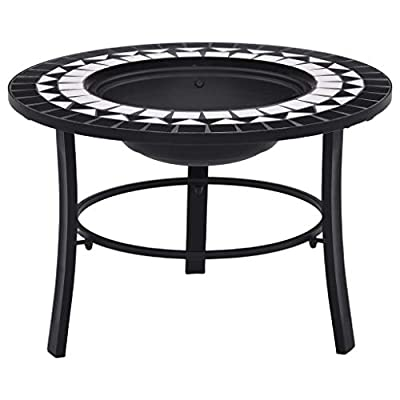 Wisbeam Garden Cooking Table Fire Pit Grill Mossaic Top Black and White