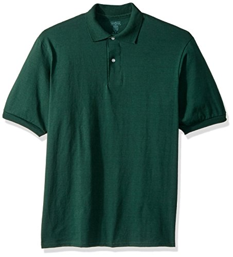 Jerzees Men's Spot Shield Short Sleeve Polo Sport Shirt, Forest Green, - Sport Green