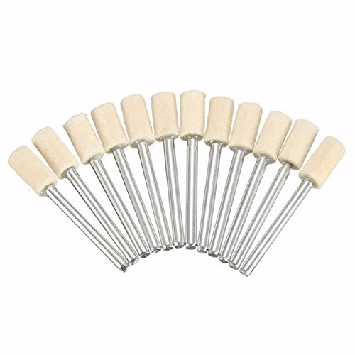 Kamas 12pcs 3mm Shank Wool Polishing Head Buffing Wheel 3mm/6mm/8mm/12mm for Dremel Rotary Tool