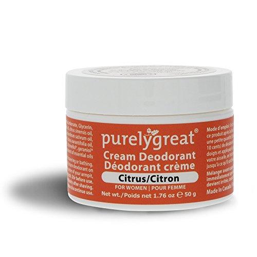 Purelygreat Natural Deodorant for Women, EWG Verified™ Deodorant, Vegan and Cruelty Free, Aluminum and Paraben Free, All Natural Deodorant - Citrus Scent