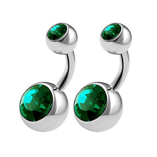 teel Short Barbell Belly Button Rings 14 Gauge 1/4 6mm Emerald Crystall Balls Nevel Bar Jewelry 0551 (Steel Mens Shorts)