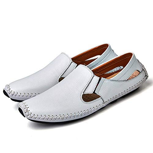 Unframed Insert Panel - Men Leather Driving Shoes Plus Size 45 46 47 Casual Slip-On Summer Shoes 5 Colors Size 38-47,White,10