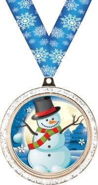 HOLIDAY MEDALS - 2'' Silver Glitter Snowman Medal 50 Pack by Crown Awards