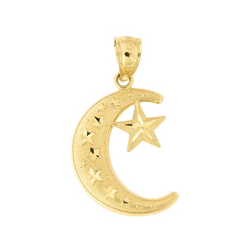 Beauniq 14k Yellow Gold Large Diamond Cut Crescent Moon and Star Pendant (Gold Diamond Moon Charm)