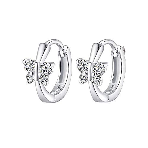 Worry-Free Shopping Stainless Steel Small Hoop Earring with Butterfly Wings for Gift Womens/Girls (Silver Tone)