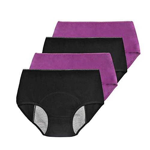 Phennies Womens Girls Menstrual Period Panties Young Female Absorbent Free Leak Briefs Teens No Leak Underwear Pack of 4 Black & Purple L