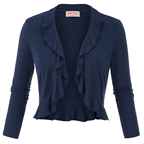 Navy Bolero - Ladies Bolero Three Quarter Sleeve Shrug Jacket (S,Navy 592)