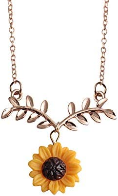 Natural Real Dried Sunflower Cat Glass Pendant Necklace Women Jewelry Gift Party