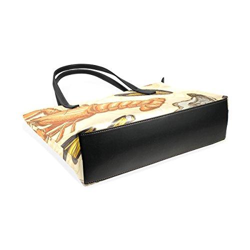 Top Bags Handbag Purses Scallop TIZORAX Fashion Shrimp Seafood Women's PU Shoulder Totes Handle Leather qW6BTp