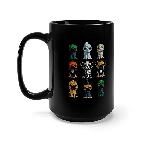 Cute Pugs Halloween Funny Halloween 15 Oz Ceramic Glossy Mugs Gift For Coffee Lover. 15 Oz Black Ceramic.15 Oz Ceramic Coffee Mugs With C-shape Handle, Comfortable To Hold. ()