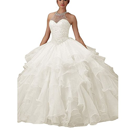 - WHZZ Halter Neck Heavy Beaded Organza Quinceanera Dresses White Sweet 16 Ball Gowns