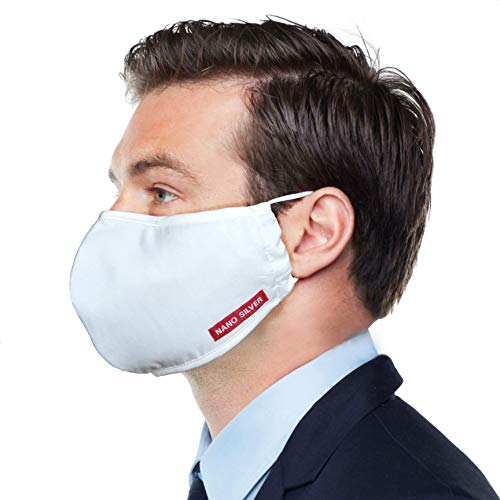 Pack 6 White Nano Silver Faces-Masks, 3D Form, Men & Women Cover Using Premium Cotton Fabric, 3 Layers, Waterproof, Breathable, Washable & Reusable.