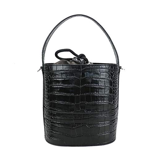 Design Embossed Crocodile Leather Bucket Bag Girls Crossbody Bag Leather Women Shoulder Hand Bag Barrel Shape,Black,(Max Length Between 20Cm And 30Cm)