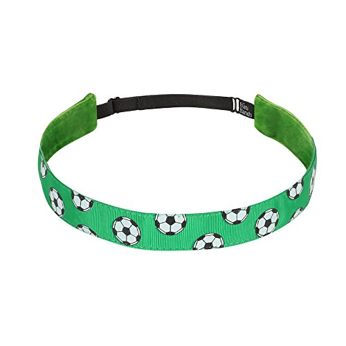 Non Slip Headbands for Girls | BaniBands Soccer Headband for Women | Fun Colors and Patterns, Unique No Slip Headband Design | Sports Themes for Soccer | Soccer-Green