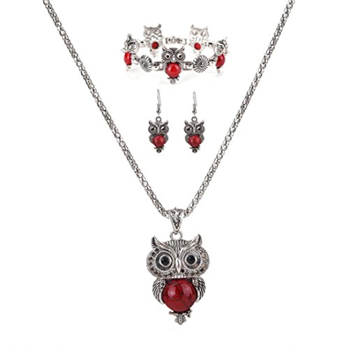 [Botrong 3Pcs/Set Women Cute Owl Earrings Bracelet Necklace Set] (Milk Woman Costume)