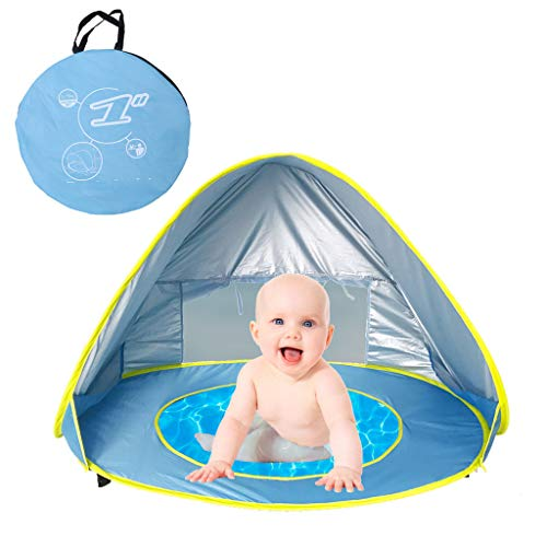 CapsA Baby Beach Tent Pop Up Portable Shade Pool UV Protection Sun Shelter for Infant Sunscreen Beach Umbrella Baby Pool for Infant Baby (Blue) ()
