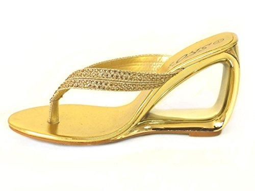 Wedge nbsp;7 Mesdames 2 Faible à Mules nbsp;5 3 Femme enfiler nbsp;8 Gold Taille Sandales orteil Chaussures 336 Post nbsp;6 Strass nbsp;4 aRtxqw