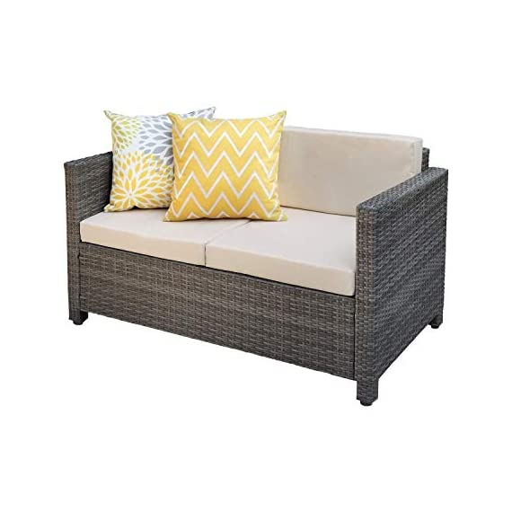 Wisteria Lane Outdoor Patio Furniture Set,5 Piece Conversation Set Wicker Sectional Sofa Loveseat Chair Gray Wicker,Tan Cushions - HANDWORK MATERIAL - Made of strong galvanized steel frame,weather-resistant hand woven PE rattan can withstand changeable weather,won't rust or fade,guaranteed to give you a weather resistant set that will last your for years to come OPTIMAL COMFORT - Cushions filled with thick sponge for optimal comfort and relaxation, wide and deep seat will provide enough room to seat comfortably EASY CLEANING - All cushions come with zippered polyester covers which are removable.Table with removable tempered glass adds a sophisticated touch and allows you to place drinks,meals,or decorative items on top - patio-furniture, patio, conversation-sets - 41FoD7WvxtL. SS570  -