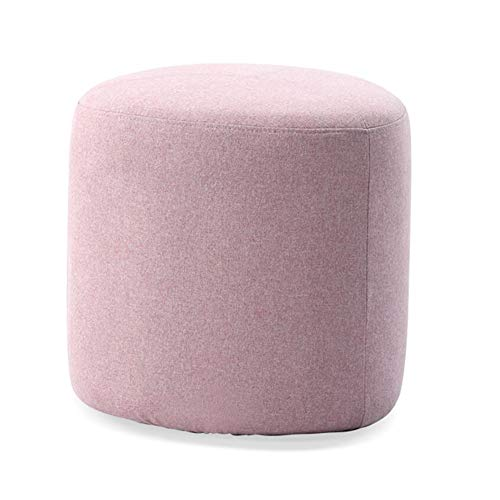 (Stools Footstool Work Stool Step Stool Cobblestone Cloth Solid Wood Sofa Dressing Shoe Store Fitting Room Washable Whole Assembly CONGMING (Color : Powder))
