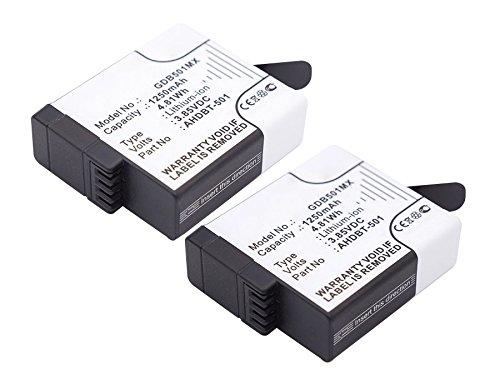 2x CELLONIC® Batteria premium per GoPro Hero 5, GoPro Hero 5 Black, GoPro Hero 6 Black (601-10197-00, AABAT-001, AABAT-001-AS, ASST1, CHDHX-501), GoPro Hero 7 Black, Hero 7 White (1250mAh) AHDBT-501 Batterie di ricambio, accu sostituzione, sostituto CC-AHD