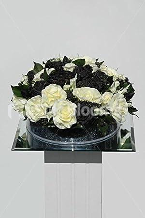 Negro Y Marfil Rosa Y Vaina Del Loto Arreglo Floral Jarrón