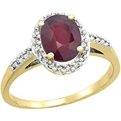 10K Yellow Gold Diamond Natural Enhanced Ruby Ring Oval 8x6mm, sizes 5-10