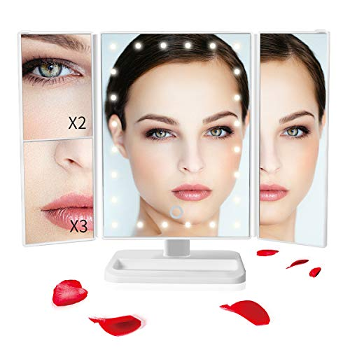 Sunba Youth Makeup Mirror Vanity Mirror with 24 LED Lights, Lighted Makeup Mirror 3X/2X Light Touch Control, 180° Adjustable Rotation Portable LED Mirrors for Girl Women (24 Lights) -