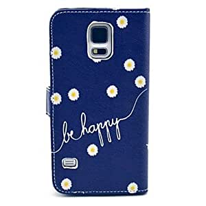 LZXBe Happy Daisy Pattern PU Leather Full Body Case with Card Slot for Samsung Galaxy S5 I9600