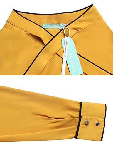 Camicetta Donna Elegante Ufficio Lunghe Cravatta Cravatta Camicia con Con Maniche con Bluse per Giallo Primavera Abollria Camicia 5E1wqnz