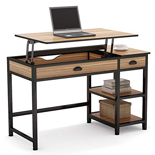 """Oak Height (Tribesigns Rustic Lift Top Computer Desk with Drawers, 47"""" Writing Desk Study Table Workstation with Storage Shelves, Height Adjustable Standing Desk for Home Office, Small Spaces (Oak))"""