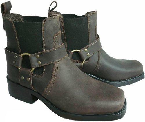 En cuir pour homme marron bottes de motard cowboy cheville-taille 40.5