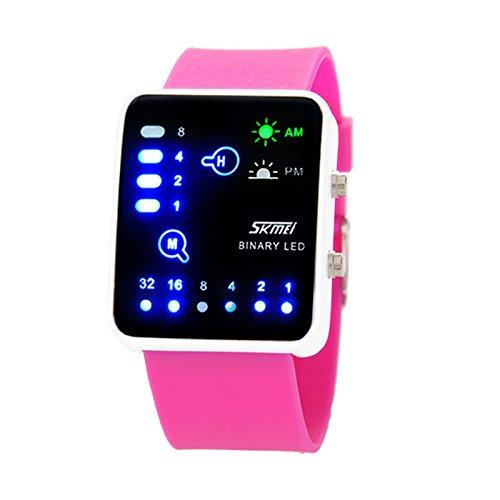 Sports Watch,Hot Sale! Technological Sense Binary Digital LED Sports Touch Screen Watch Hot(Hot Pink) by Woaills Watch