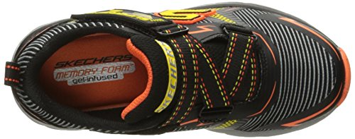 Skechers Kids Zipperz Z Strap Sneaker (Little Kid/Big Kid) Black/Yellow/Orange