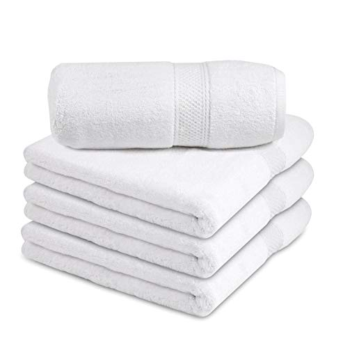 Talvania Bath Towels – 100% Ring Spun Cotton 600 GSM Luxury Bath Towels | 27″ X 54″ in Size and in A Set of Four. Perfect for Bathrooms & As A Baby Bath Towel (White)