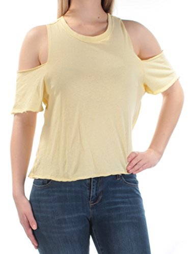 Free People Womens Taurus Cold Shoulder Casual T-Shirt Yellow S (People Free Tunic Cotton)