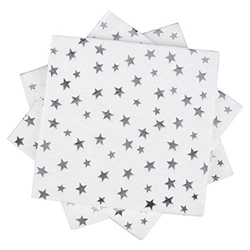 Silver Stars Cocktail Napkins 100Counts 3-Ply 5'' White and Silver Foil Stars Paper Napkins Perfect for Birthday Weekend Party Wedding Babyshow Bridalshower Anniversary (Silver star 3ply)